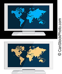 vector white lcd panel with world map