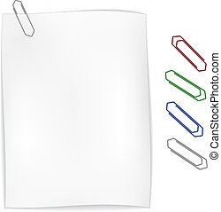 vector white wavy paper with paperclip