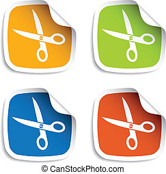 vector scissors stickers