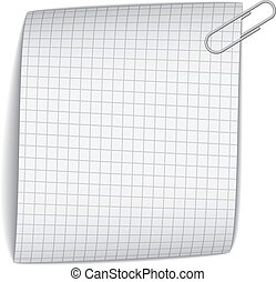 vector squared paper with paperclip