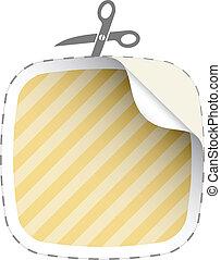 vector scissors cutting striped sticker