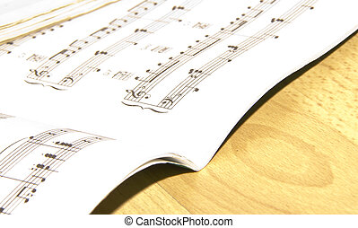 Music book on the wood table