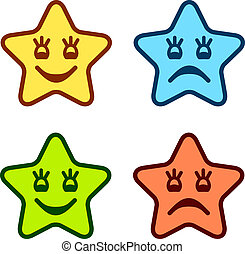 vector positive and negative faces of stars