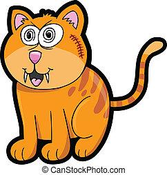 Crazy Cat Kitten Vector