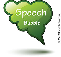 vector green glossy speech bubble