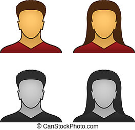 vector male female face icons