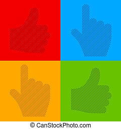 vector striped transparent cursor hands