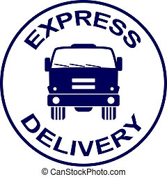 vector express delivery stamp - truck silhouette
