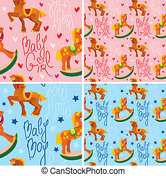 seamless pattern with toys horses