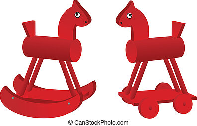 red toy horses
