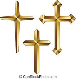 vetorial, dourado, cristão, cruzes