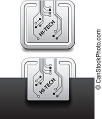 vector hi-tech square circuit board attached labels
