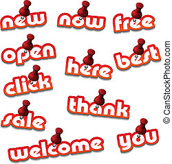 vector red attached promotional stickers
