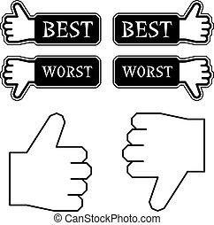 vector thumb best worst labels