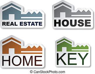 vector house key real estate stickers