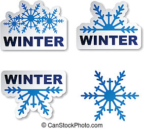 vector winter snowflake promotional stickers