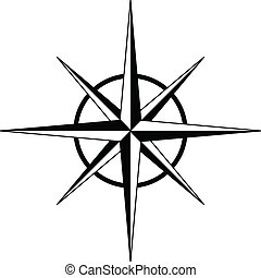 Black compass rose - vector