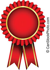 Vector red badge with ribbon