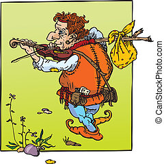 little hunchback playing violin. Fantasy fairy tail...