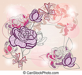 artistic composition with roses