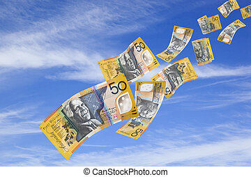 Money Falling from Sky - Australian fifty dollar bills...