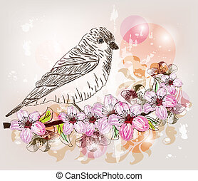 artistic floral branch with bird - cherry blossom artistic...