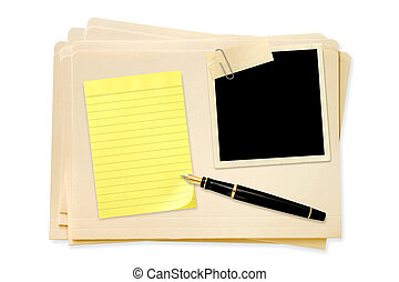 Files with Blank Photo Notepaper and Pen - Stack of manila...