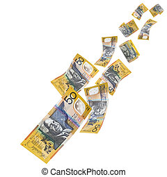 Australian Money Falling - Falling Australian fifty dollar...