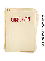 Confidential Files - Stack of manilla file folders, stamped...