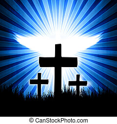 cross on the blue background with fly dove on back
