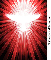 shining dove with rays on red