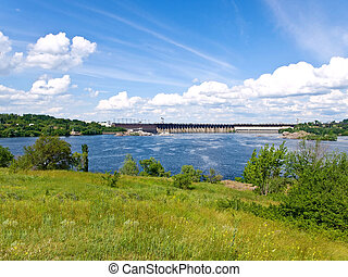 Dnipro water-power plant - view on the water-power plant dam...