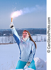 Woman with red falschfeuer. Help signal. - Young Woman hold...