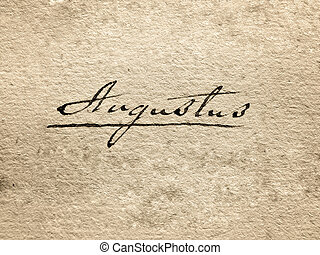 august - 100 year old paper, handwritten augustus