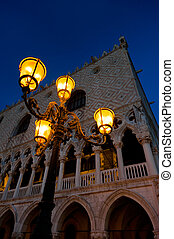 Evening at San Marco square Doge`s Palace and antique...