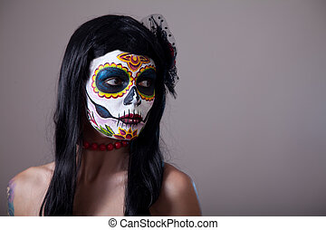 Sugar skull girl portrait - Sugar skull girl portrait,...