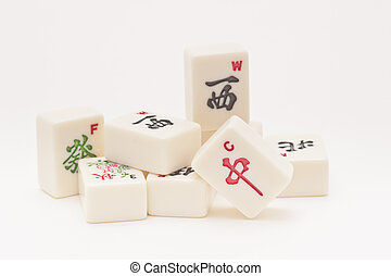 Studio shot of Mahjong pieces on white background