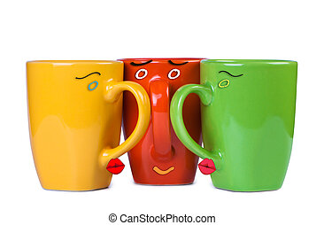 Lovers kiss cup - Kissing cups with painted faces.