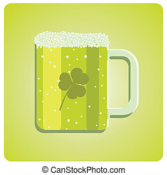 Vector illustration of a green beer glass with clover