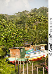 fishing boats in jungle Big Corn Island Nicaragua - colorful...