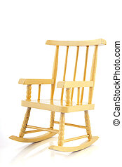 Yellow rocking chair - Yellow wooden rocking chair isolated...