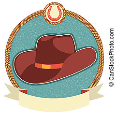 Cowboy hat label with scroll for text.Vector illustration