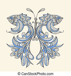 vector concept butterfly with wings - fishes, fishes can be...