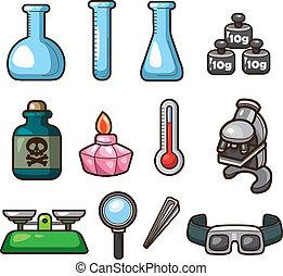 Ciencia, tela, iconos