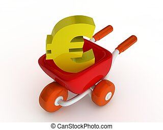 Shopping cart with euro sign on white background