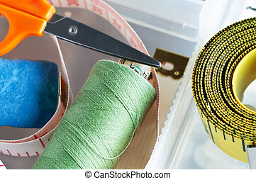 Sewing Box Items - Sewing items in the plastic compartments...