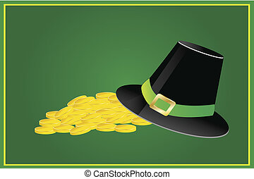 black irish hat and pile of gold coins