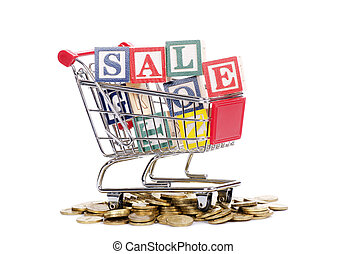 Coins, shopping cart and word SALE - The coins, shopping...