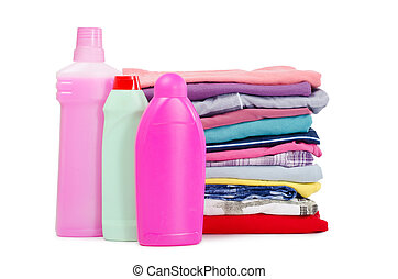 Heap of pure clothes with different detergent - Heap of pure...