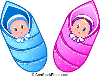 Illustration baby boy and girl - Illustration baby boy and...
